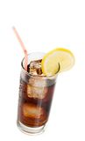 Fresh coke with straw with lemon slice on top, summer time Stock Photo