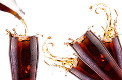 Fresh cola drink background with splash Royalty Free Stock Images
