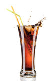 Fresh cola juice and ice cubes splash Royalty Free Stock Photography