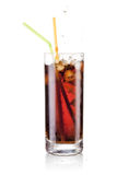 Fresh cola juice and ice cubes splash Stock Images
