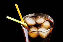 Fresh cola juice and ice cubes splash Stock Photo