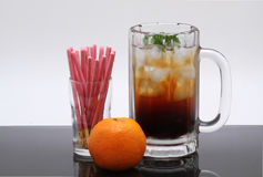 Fresh cola,orange and biscuit Stock Photography