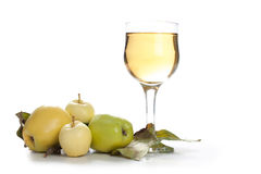 Fresh and cold apple juice against white background Royalty Free Stock Photos