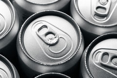 Fresh cold cans of soft drink Stock Photos