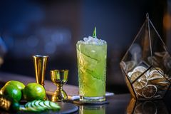 Fresh, cold cocktail on the bar. Cucumber drink with alcohol. Incredible Mix. Fresh, cold cocktail on the bar with a beautiful bokeh in the background. soft Stock Images