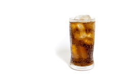 Fresh Cold Cola with ice in glass isolated on white background Royalty Free Stock Photography