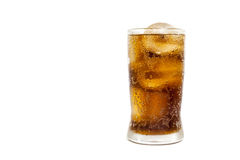 Fresh Cold Cola with ice in glass isolated on white background Royalty Free Stock Image