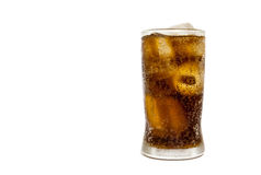 Fresh Cold Cola with ice in glass isolated on white background Stock Images