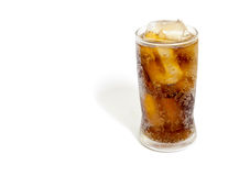 Fresh Cold Cola with ice in glass isolated on white background Stock Photos