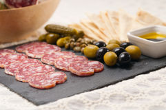 Cold cut platter with pita bread and pickles Royalty Free Stock Image
