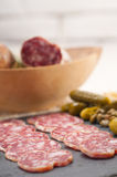 Cold cut platter with pita bread and pickles Stock Photos