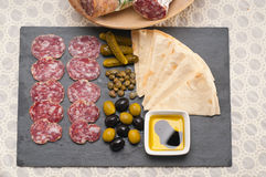 Cold cut platter with pita bread and pickles Stock Photo