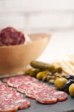 Cold cut platter with pita bread and pickles Royalty Free Stock Photos