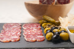 Cold cut platter with pita bread and pickles Royalty Free Stock Photography