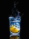 Fresh cold drinks water action fire movement splash fruit, healthy Stock Photography