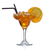 Fresh and cold ice tea with sliced orange isolated Stock Image