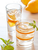Fresh cold lemonade with lemons Royalty Free Stock Images