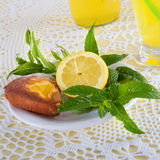 Fresh cold lemonade with mint leaves and cookies Stock Photos