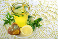 Fresh cold lemonade with mint leaves and cookies Royalty Free Stock Photography