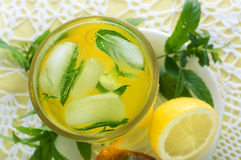 Fresh cold lemonade with mint leaves and cookies Stock Photo