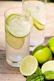 Fresh cold refreshment drink mineral water soda with lime and mint Royalty Free Stock Image