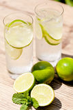Fresh cold refreshment drink mineral water soda with lime and mint stock image
