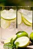Fresh cold refreshment drink mineral water soda with lime and mint Royalty Free Stock Images