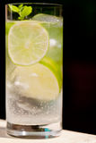 Fresh cold refreshment drink mineral water soda with lime and mint Stock Photo