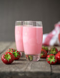 Fresh cold strawberry smoothies with fresh fruits Stock Photography
