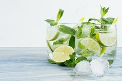 Free Fresh Cold Summer Beverage Gin And Tonic With Lime, Leaf Mint, Straw, Ice Cubes, Soda On Light White Background. Stock Photo - 114192610