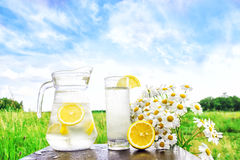 Fresh cold water with lemon and ice in a pitcher on the table.Homemade lemonade with fresh citruses on the background of nature. Quenching thirst.The Stock Photos