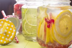 Water with fruits in jar Stock Photography