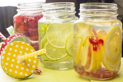 Water with fruits in jar Stock Photo