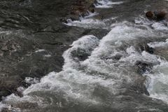 Fresh and cold water of waterfall. Waterfall water coming in the European river Stock Image