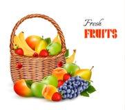 Fresh color fruit in basket. Concept of diet. royalty free illustration
