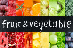 Fresh color fruits and vegetables Royalty Free Stock Images