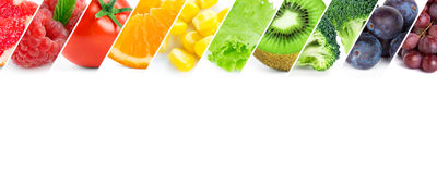 Fresh color fruits and vegetables. Healthy food stock photography