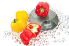 Fresh color paprika on digital scale Stock Images