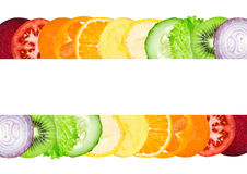 Fresh color slices of fruit and vegetable royalty free stock photography