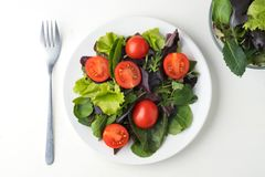 fresh colored cherry tomato salad with arugula, Basil, spinach, salad and olive oil dressing. selective focus stock images