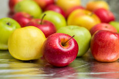 Fresh colorful apples. On the silver background Stock Photo