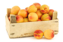Fresh colorful apricots in a wooden crate Stock Photo