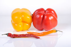 Fresh, Colorful Bell and chili peppers - Stock Image Royalty Free Stock Photo