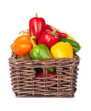 Fresh colorful bell peppers in box Royalty Free Stock Photos
