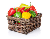 Fresh colorful bell peppers in box Royalty Free Stock Photo