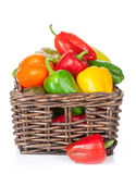 Fresh colorful bell peppers box Stock Photos