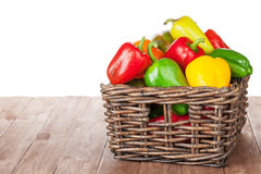 Fresh colorful bell peppers box Stock Image
