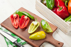 Fresh colorful bell peppers cooking Stock Photos