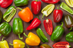 Fresh colorful bell peppers stock photography