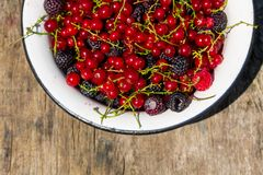 Fresh colorful berries in bowl on rustic wooden table. Fresh colorful berries on wooden background. Blackberries, raspberries, red and black currant in bowl on Royalty Free Stock Images